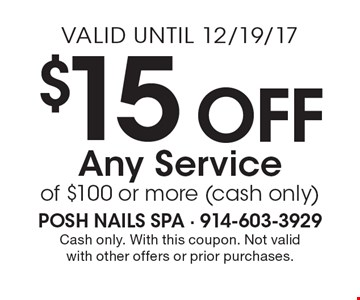 $15 Off Any Service of $100 or more (cash only). Cash only. With this coupon. Not valid with other offers or prior purchases. Valid until 12/19/17.