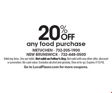 20% off any food purchase. Valid any time. One per table. Not valid on Father's Day. Not valid with any other offer, discount or promotion. No cash value. Excludes alcohol and gratuity. Dine in/to-go. Expires 7/13/18. Go to LocalFlavor.com for more coupons.