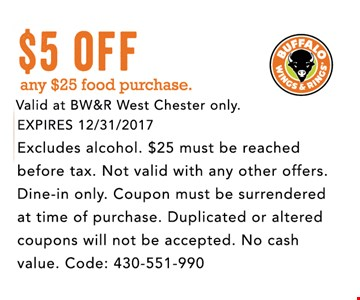 $5 Off any $25 food purchase