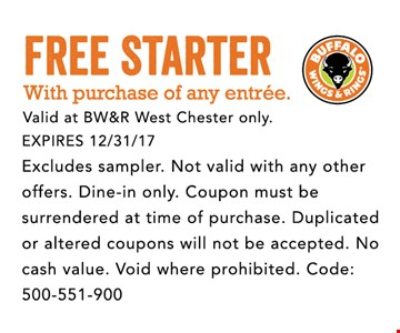 FREE starter with purchase of any entrée