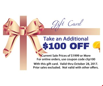 Take an additional $100 off