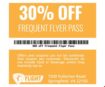 30% OFF FREQUENT FLYER PASS