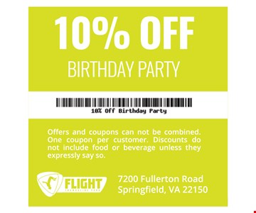 10% OFF BIRTHDAY PARTY