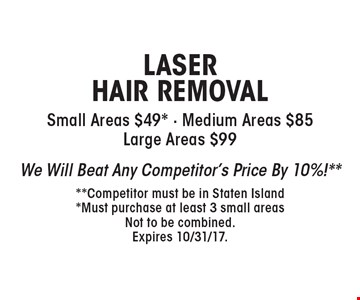 LASER HAIR REMOVAL Small Areas $49* - Medium Areas $85 Large Areas $99. We Will Beat Any Competitor's Price By 10%!** **Competitor must be in Staten Island *Must purchase at least 3 small areas. Not to be combined. Expires 10/31/17.
