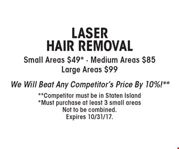 LASER HAIR REMOVAL Small Areas $49* - Medium Areas $85 Large Areas $99. We Will Beat Any Competitor's Price By 10%!** **Competitor must be in Staten Island. *Must purchase at least 3 small areas. Not to be combined. Expires 10/31/17.