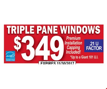 Triple pane windows $349