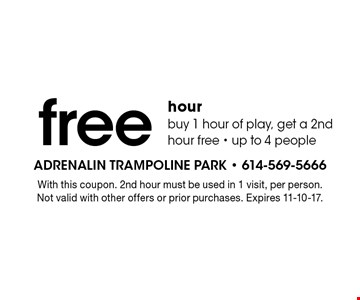 Free hour. Buy 1 hour of play, get a 2nd hour free - up to 4 people. With this coupon. 2nd hour must be used in 1 visit, per person. Not valid with other offers or prior purchases. Expires 11-10-17.