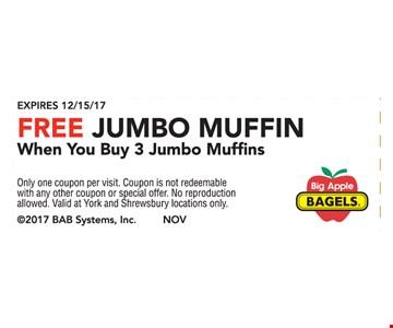 Free Jumbo Muffin When You Buy 3 Jumbo Muffins