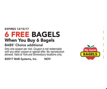6 Free Bagels When You Buy 6 Bagels