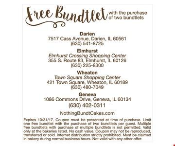Free Bundlet when you purchase 2 bundtlets