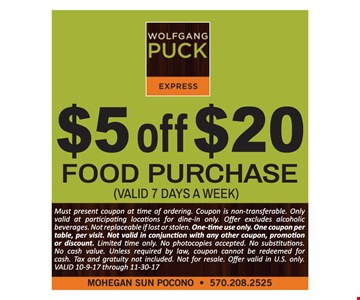 $5 off a $20 food purchase.