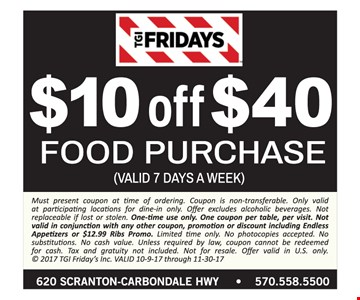 $10 off a $40 food purchase.