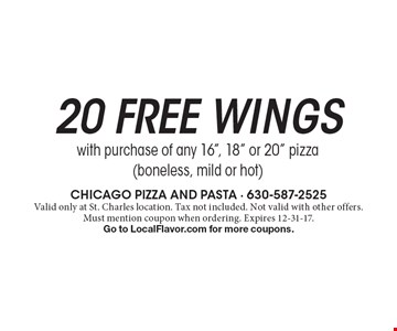 20 Free wings with purchase of any 16