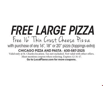 Free large pizza. Free 16