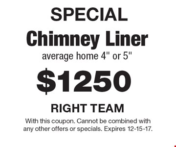 SPECIAL, $1250 chimney liner average home 4