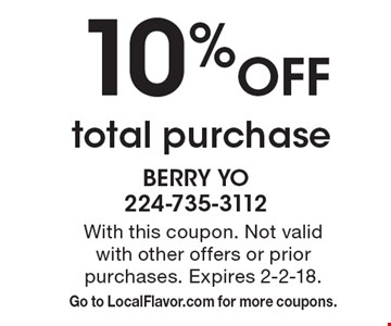 10% Off total purchase. With this coupon. Not valid with other offers or prior purchases. Expires 2-2-18. Go to LocalFlavor.com for more coupons.
