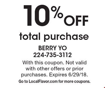 10% off total purchase. With this coupon. Not valid with other offers or prior purchases. Expires 6/29/18. Go to LocalFlavor.com for more coupons.