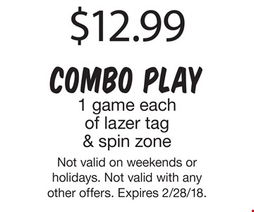 $2 off admission 3 and older. Not valid on weekends or holidays. Not valid with any other offers. Expires 2/28/18.