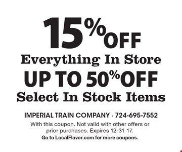 15% Off Everything In Storeup to 50%Off Select In Stock Items. With this coupon. Not valid with other offers or prior purchases. Expires 12-31-17.Go to LocalFlavor.com for more coupons.