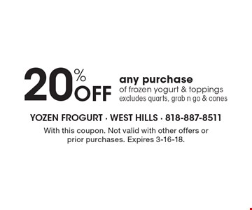 20% Off any purchase of frozen yogurt & toppings. Excludes quarts, grab n go & cones. With this coupon. Not valid with other offers or prior purchases. Expires 3-16-18.