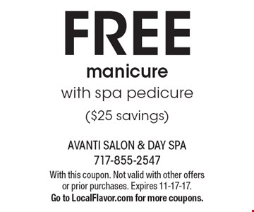 FREE manicure with spa pedicure ($25 savings). With this coupon. Not valid with other offers or prior purchases. Expires 11-17-17. Go to LocalFlavor.com for more coupons.