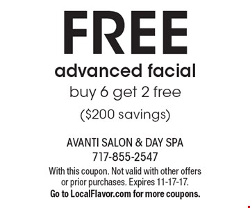 FREE advanced facial. Buy 6 get 2 free ($200 savings). With this coupon. Not valid with other offers or prior purchases. Expires 11-17-17. Go to LocalFlavor.com for more coupons.