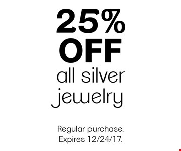 25% off all silver jewelry. Regular purchase. Expires 12/24/17.
