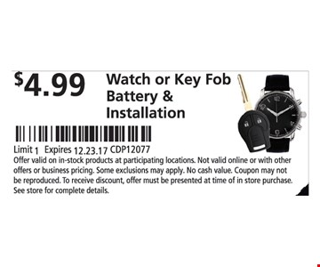 $4.99 Watch Or Key Fob Battery & Installation