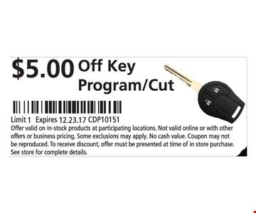 $5.00 Off Key Program/Cut