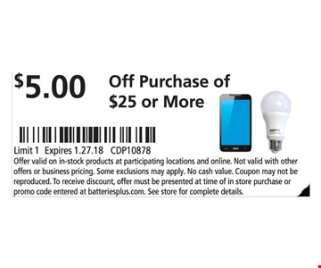 $5.00 Off Purchase of $25 or more