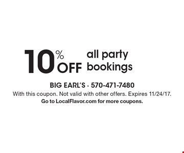10% Off all party bookings. With this coupon. Not valid with other offers. Expires 11/24/17.Go to LocalFlavor.com for more coupons.