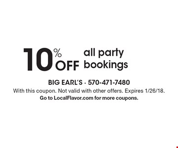 10% Off all party bookings. With this coupon. Not valid with other offers. Expires 1/26/18.Go to LocalFlavor.com for more coupons.