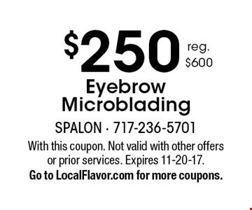 $250 Eyebrow Microblading. With this coupon. Not valid with other offers or prior services. Expires 11-20-17. Go to LocalFlavor.com for more coupons.