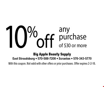10% off any purchase of $30 or more. With this coupon. Not valid with other offers or prior purchases. Offer expires 2-2-18.