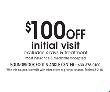 $100 Off initial visit excludes x-rays & treatment most insurance & medicare accepted. With this coupon. Not valid with other offers or prior purchases. Expires 2-2-18.