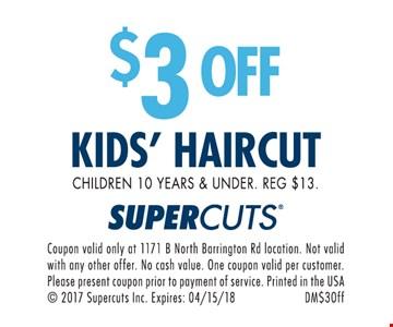$3 off kids haircut.