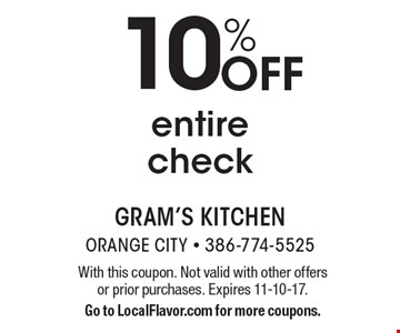 10% Off entire check. With this coupon. Not valid with other offers or prior purchases. Expires 11-10-17.Go to LocalFlavor.com for more coupons.