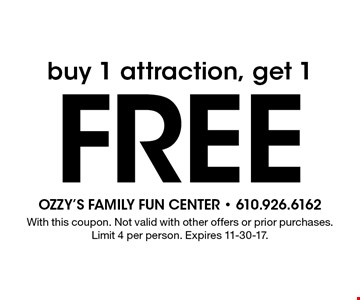 Free attraction. Buy 1 attraction, get 1. With this coupon. Not valid with other offers or prior purchases. Limit 4 per person. Expires 11-30-17.