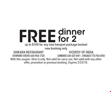 FREE dinner for 2 up to $100 for any new banquet package booked new booking only. With this coupon. Dine in only. Not valid for carry-out. Not valid with any other offer, promotion or previous booking. Expires 3/23/18.