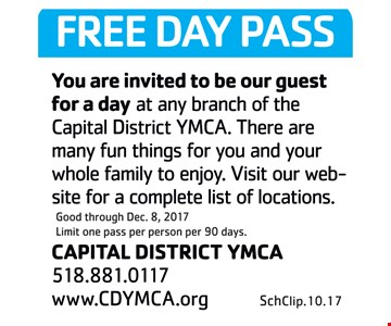 Free Day Pass at any branch of the Capital District YMCA