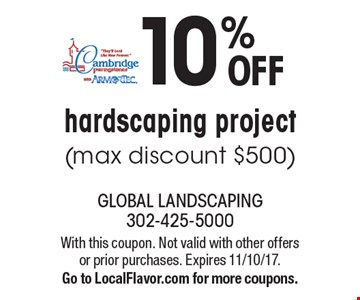10% OFF hardscaping project (max discount $500). With this coupon. Not valid with other offers or prior purchases. Expires 11/10/17. Go to LocalFlavor.com for more coupons.