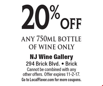 20% off any 750ml bottle of wine only. Cannot be combined with any other offers. Offer expires 11-2-17. Go to LocalFlavor.com for more coupons.