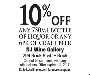 10% off any 750ml bottle of liquor or any 6pk of craft beer. Cannot be combined with any other offers. Offer expires 11-2-17. Go to LocalFlavor.com for more coupons.