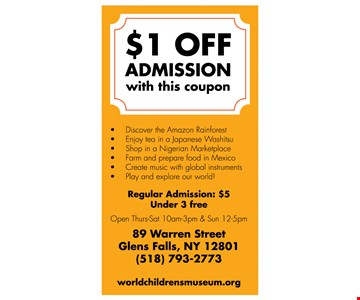 $1 OFF Admission with this coupon