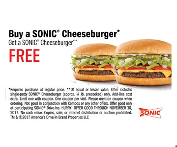 Buy a SONIC Cheeseburger, Get a SONIC Cheeseburger FREE