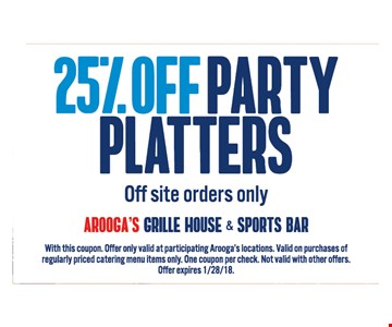 25% Off Party Platters (off site orders only)