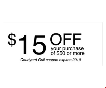 $15 off your purchase of $50 or more