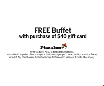 free buffet with purchase of $40 gift card