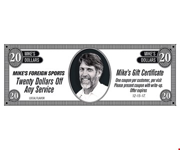$20 off Any service. One coupon per customer, per visit. Offer expires 12-15-17