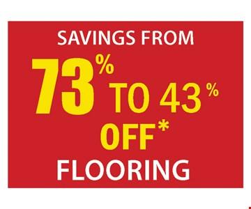 73% to 43% off* flooring